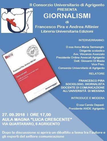 """Presentazione del libro """"Giornalismi"""" del prof. F. Pira"""